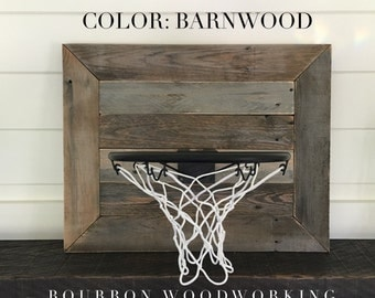 Rustic Reclaimed Wood Backboard With Basketball Hoop For Wall Hanging. Fixer Upper Farmhouse Style!