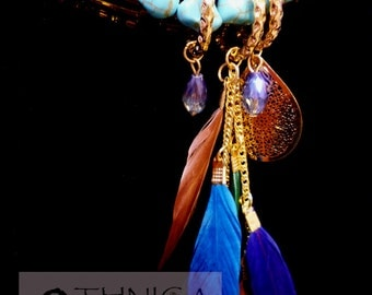 Feather necklace and turquoise stones
