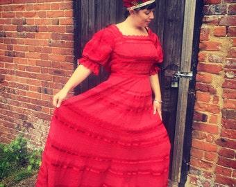 Gorgeous Sheer Red Boho Dress
