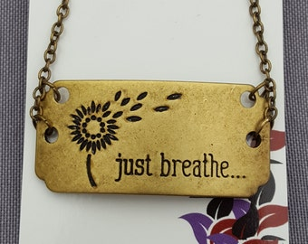 Just Breathe Gift, Just Breathe Necklace, Fitness Sports Jewelry, CrossFit Jewelry, Inspirational Gifts, Mother's Day Gifts, Yoga Charms