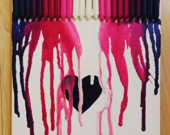 Heart Melted Crayon Canvas