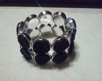 Black Disc Cuff Bracelet