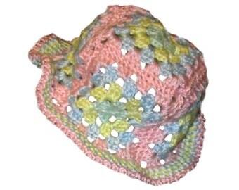 Granny Square Rainbow Baby Hat
