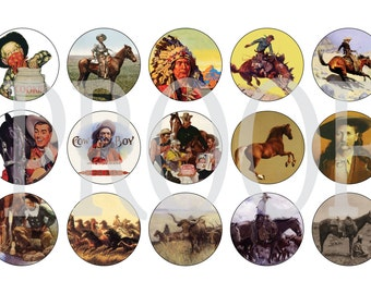 Digital Bottle Cap Image Sheet - Vintage  Cowboy - 1 Inch Digital Collage - Instant Download