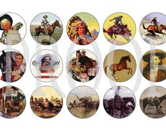 Digital Bottle Cap Image Sheet - Vintage  Cowboy - 1 Inch Digital Collage - Instant Download