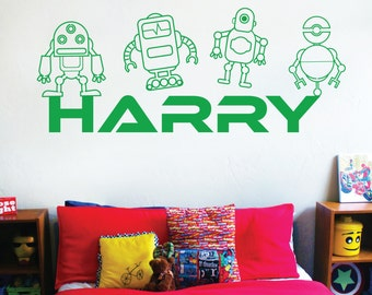 WD101047 | Personalised Name Children Wall Art Sticker - Toy Robots
