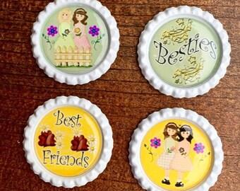 BFF.BFFs.Best Friends.Friends.Gift for Friend.My Friend.Magnets.Fridge Magnets.Key Chains.Kids Party.Kids.Bottle Caps.Bottle Cap Magnets