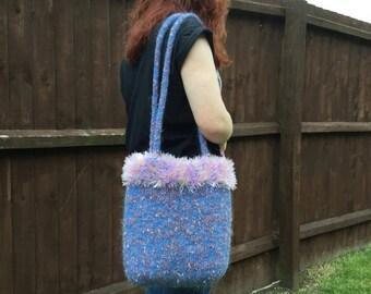 SALE - Mottled pink and blue knitted felt bag