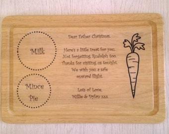 Personalised Santa Treat Board, santa plate, wooden santa plate, wooden santa board, Father Christmas plate, Christmas Eve box