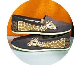 Giraffe Hand Painted TOMS Shoes