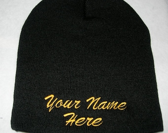 Custom Embroidery-Personalized Embroidered Name Beanie Knit Cap Cuffless Black