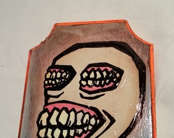Toothy - painting on wood