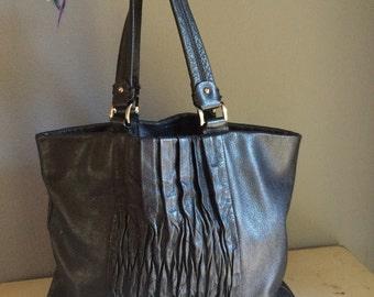 vintage, classic, Calvin Klein, black leather, shoulder bag, soft leather, gorgeous bag, wrinkle front, side pouch