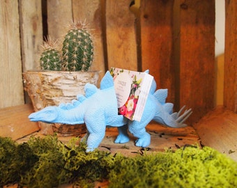 Large Baby Blue; Stegosaurus Dinosaur Business Card Holder; Desk Accessory; Home Decor, Office Decor; Shop Decor