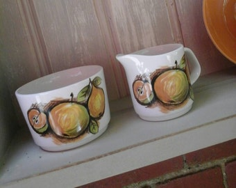 Retro sugar bowl,retro milk jug,studioware,1970s,1960s studioware,Meakin eden,Eden,sugar bowl,milk jug,retro,vintage,studio pottery,Meakin