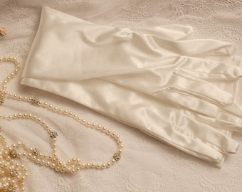 Ivory opera long gloves, ivory long gloves, ivory satin gloves, ball gloves, ivory evening gloves