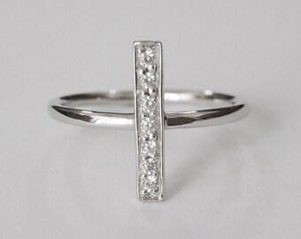 cz sideway cross ring, bar ring, cross ring, sideway cross, silver cross ring, christian ring, ring band, promise ring, cross jewelry