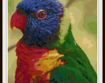 Bird Cross Stitch Pattern - Parrot Cross Stitch - Bird Pattern - PDF Download