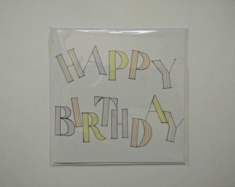 Printed paper Happy Birthday text card