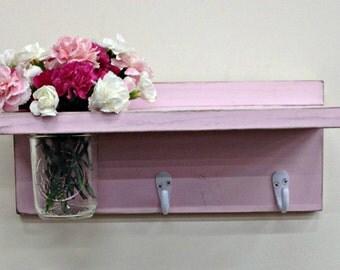 Distressed Shelf with 2 Key Hooks and Mason Jar Vase