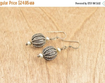1 Day Sale Unique Granulated Beaded Hook Back Earrings Sterling Silver 7.8g Vintage Estate