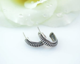 Coil Design Semi-Hoop Post Earrings Sterling Silver 3.2g Vintage Estate