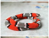 Red snake necklace, snake skin grey black bead crochet necklace, beaded necklace, handmade necklace jewelry