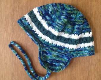 Toddler earflap hat - toddler helmet - hand knit - stripes & eyelets pattern - 2 years+
