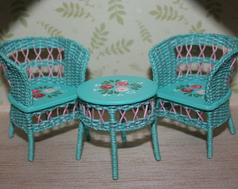 Set of hand weaved chairs and table
