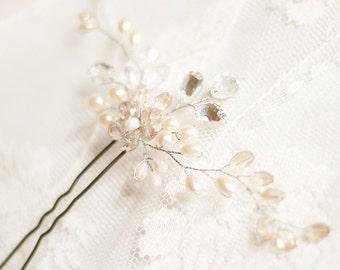 Bridal Hair Pin. Wedding Hair Pin. Pearl Hair Pin, Bridal Hairpin, Wedding Hairpin, Pearl and crystal hair pin, Сrystal Hair Pin, Cream