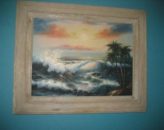 Light Gray Framed Original Signed Seascape Oil Painting