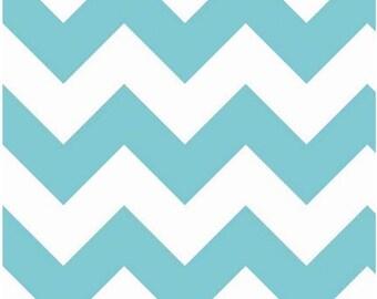 Chevron Cotton Fabric Aqua and White Zig Zag by Riley Blake Designs - Large Chevron Cotton Basics by RBD Blue Chevron - Aqua Chevron Fabric