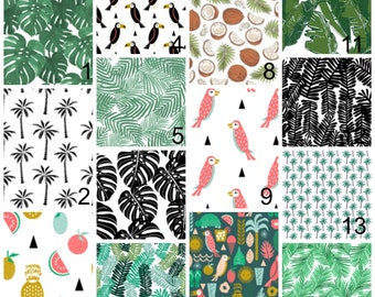 Palm tree bedding - gender neutral baby bedding - tropical bedding - pineapple coconut leaves crib sheet changing pad cover skirts swaddle