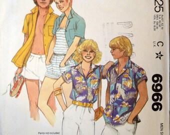 80s Vintage Mens Shirt - Sewing Pattern - McCalls 6966 - Vintage Sewing Pattern - Vintage Mens Shirt - Size Small - 80s Mens Button Shirt