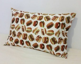One (1) - 100% Cotton Snack Food Pillowcase - Burger