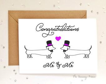 Congratulations Mr & Mr Dachshund Dog A5 Greeting Card
