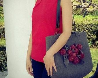 "Felt Bag ""Red roses ..."""