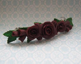 Hair barrette, flower barrette, roses