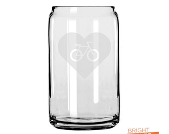 Heart Bike 02 - Etched 16oz Can Glass - The superior drinking glass, perfect for what ever your beverage of choice is!