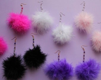 Beaded Pom Pom Earrings