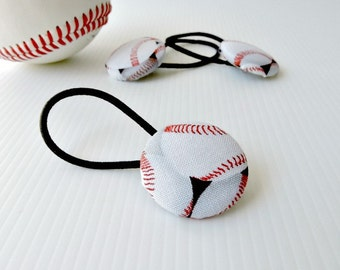 Baseball fabric covered button hair elastic - single pony tail holder - 29mm button