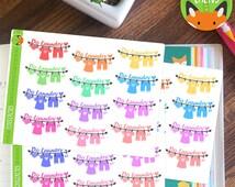 Laundry Washing RAINBOW Cleaning Washing Line Clothes Sticker Set - Planner Stickers - Planner Decorations - Kikki-K & Erin Condren Sticker