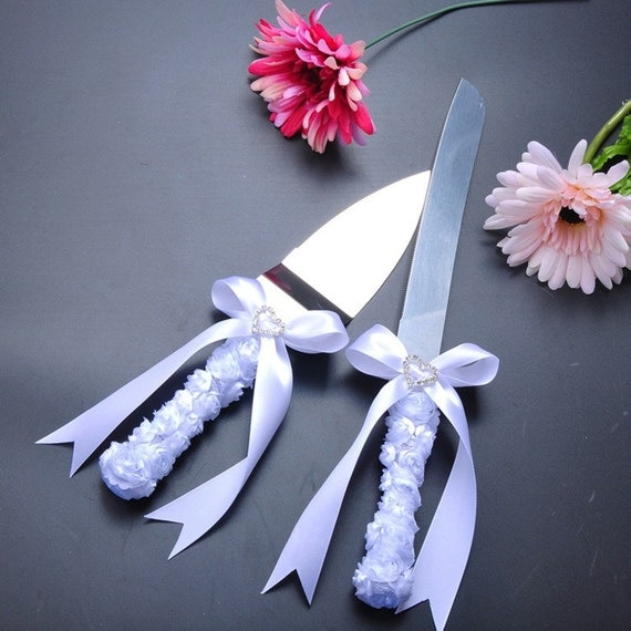 wedding cake knife items similar to fancy white cake knife set on etsy 23004