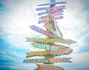 Travel Photograph Print - Wanderlust Photography - Mileage Sign Wall Art - Ocean Home Decor - Key West Florida Photo - Directional Sign