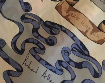 Richard Allan Heraldic Lion Vintage Pure Silk Scarf. Vintage silk Scarf. Richard Allan silk collectible scarf. Heraldic Scarf. Vintage