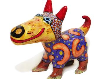 Clay dog, Ceramic dog, little dog, Dog figurines, puppy ceramic, clay figurines, ceramic art, painted pottery, dog lover gift, statuette dog