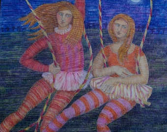 Painting of two acrobats at night