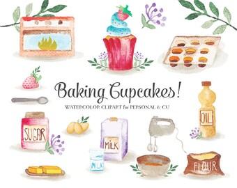 Baking Clipart Set - clip art set of baking cupcakes - mixer, flour, eggs, oil, sugar etc. instant download