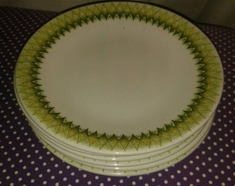 English Ironstone Pottery TOBAGO side plates X6.Six vintage plates, green,1960s,1970s,dinner plate.Teatime. Vintage crockery, Staffordshire.