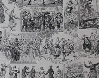 Page de Larousse sur LA DANSE provenant d'un dictionnaire français Larousse ancien 1925 - Page Larousse 20X29cm /Affiche ancienne